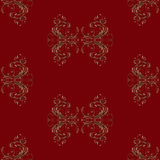 Seamless pattern on dark red background of abstract vintage floral ornament in brown tones Royalty Free Stock Photography