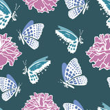 Seamless pattern with dead butterflies Royalty Free Stock Images