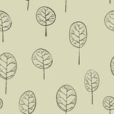 Seamless pattern with deciduous trees Royalty Free Stock Photography
