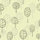 Seamless pattern with deciduous trees Stock Photography