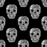 Seamless pattern with Decorate Skull painted ornament white on black Royalty Free Stock Images