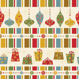Seamless pattern with decorated balls and gifts Stock Photos
