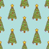 Seamless pattern with decorated Christmas. royalty free stock photography