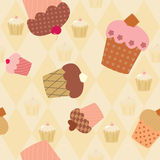 Seamless pattern with decorated cupcakes Royalty Free Stock Photography