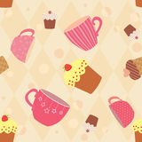 Seamless pattern with decorated cups and cakes Stock Photos