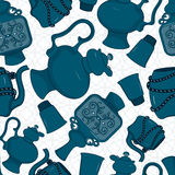 Seamless pattern with decorated eastern crockery Stock Images