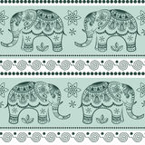 Seamless pattern with decorated elephants. Royalty Free Stock Images