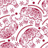 Seamless pattern with decorated elephants Stock Photos