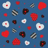 Seamless pattern with  decorated hearts Royalty Free Stock Photography