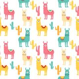 Seamless pattern with decorated lamas in poncho and cactus. Trendy cartoon print. royalty free illustration