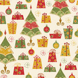 Seamless pattern with decorated trees and gifts Stock Photo