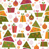 Seamless pattern with decorated trees and gifts Royalty Free Stock Image