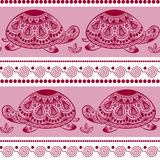 Seamless pattern with decorated turtles. Ethnic turtle. Stock Photos