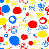 Seamless pattern with decoration balls. Hand drawn artistic ink Stock Photo