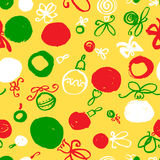 Seamless pattern with decoration balls. Hand drawn artistic ink Royalty Free Stock Photo