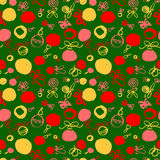 Seamless pattern with decoration balls. Hand drawn artistic ink Royalty Free Stock Image