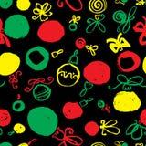 Seamless pattern with decoration balls. Hand drawn ink backgroun Stock Photo