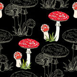 Seamless pattern with decorative amanita and grass on the black background Royalty Free Stock Images