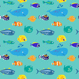 Seamless pattern with decorative beautiful fish Royalty Free Stock Photography