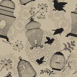Seamless pattern with decorative bird cage black Silhouettes, fl Stock Image