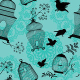 Seamless pattern with decorative bird cage black Silhouettes Stock Photo