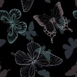 Seamless pattern with decorative butterflies in scandinavian style. design greeting card and invitation of the wedding, birthday, Royalty Free Stock Images