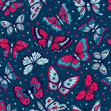 Seamless pattern with decorative butterflies Stock Photos