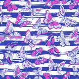 Seamless pattern with decorative butterflies Royalty Free Stock Photo