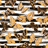 Seamless pattern with decorative butterflies Royalty Free Stock Photography