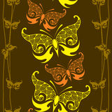 Seamless pattern with decorative butterfly and lines Royalty Free Stock Photos