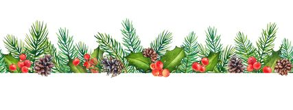 Seamless pattern, decorative Christmas floral element with watercolor branches of holly with berries and pine tree with cones royalty free stock photos