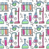 Seamless pattern of decorative color hand drawn chemical lab scientific experiment equipment isolated vector illustration. Set of royalty free illustration