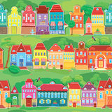 Seamless pattern with decorative colorful houses Stock Photo
