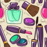 Seamless pattern of decorative cosmetics Stock Image