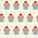 seamless pattern with decorative cupcakes in vintage colors Royalty Free Stock Photo