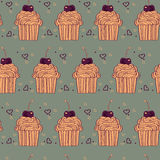 seamless pattern with decorative cupcakes in vintage colors Royalty Free Stock Images