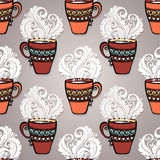 Seamless Pattern with Decorative Cups of Tea Royalty Free Stock Image