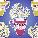 Seamless Pattern with Decorative Cups of Tea Stock Image