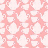 Seamless pattern with decorative cups and teapots Stock Photography
