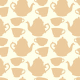 Seamless pattern with decorative cups and teapots Stock Images