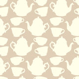 Seamless pattern with decorative cups and teapots Stock Image