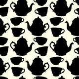 Seamless pattern with decorative cups and teapots Royalty Free Stock Photo