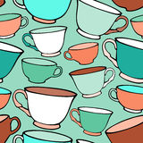 Seamless pattern with decorative cups Stock Photography