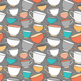 Seamless pattern with decorative cups Royalty Free Stock Photos
