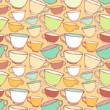 Seamless pattern with decorative cups Royalty Free Stock Images
