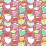 Seamless pattern with decorative cups Stock Photos