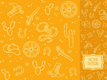 Decorative pattern with items of cowboy clothes and elements of Royalty Free Stock Image
