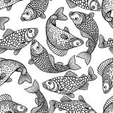 Seamless pattern with decorative fish. Background made without clipping mask. Easy to use for backdrop, textile Stock Photo
