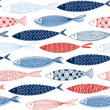 Seamless pattern from decorative fish. Vector Royalty Free Stock Image