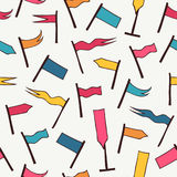 Seamless pattern with decorative flags. Background texture with different bright pennants. Design can be used for web pages, crafts papers, wallpapers Stock Photos